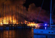 U požaru u marini u Kaštel Gomilici izgorjelo pet većih jahti