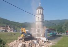VIDEO: U toku je uklanjanje nelegalno izgrađene crkve iz dvorišta Fate Orlović